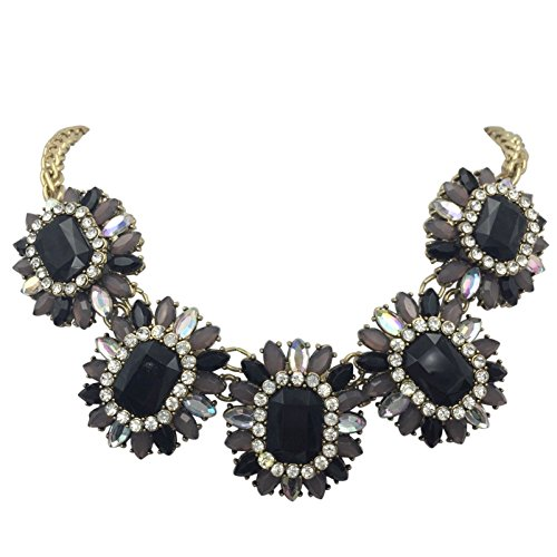 - 5 Flower Multi Color with Rhinestones Trendy Statement Necklace (Black Grey Clear Gold Tone)