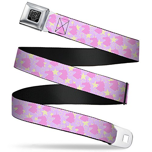 """Price comparison product image Buckle-Down Seatbelt Belt - Unicorn Icon Monogram / Stars Lavender / Yellow / Pink - 1.0"""" Wide - 20-36 Inches in Length"""