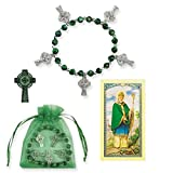Marbled Peridot Beaded Bracelet Includes an Embroidered Celtic Cross Aplique Sticker and Free Laminated Card St Brigid or St Patrick Blessed By Pope Francis