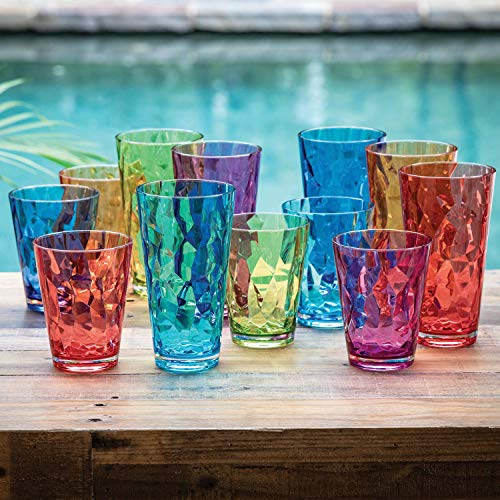 Highball And DOF Tumbler Set 12 Pack Assorted Colors BPA Free Shatterproof Double Old Fashioned Tumblers