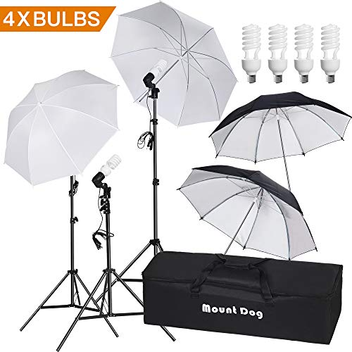 MOUNTDOG 33' Photography Umbrella Lighting Kit Professional Photo Video Portrait Studio Day Light Umbrella Continuous Lighting Kit for Photo Studio
