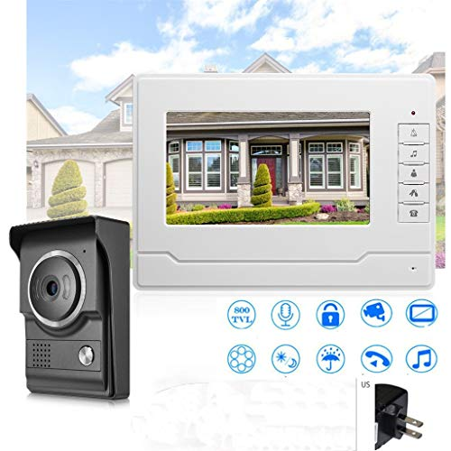 Wireless Home Security System - 7 Inch Color LCD Video Door Phone Doorbell Camera + Monitor, Infrared Night Vision, Two-way Audio,Visual, Intercom, Unlock, Rainproof (Black)