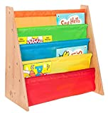 LIVIVO  Childrens Colourful Sling Storage Bookshelf – Easy Access Wooden Book Storage Rack with Soft Nylon Fabric Shelves Shelf to Protect your Kids Books – Perfect Height for your little reader (Multi-Colour)