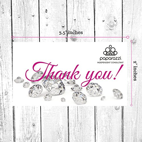 Paparazzi Thank You Card| 50 Pk | Single Sided 3.5 x 2'' inches | Jewel Design Bling by Boutique Marketing