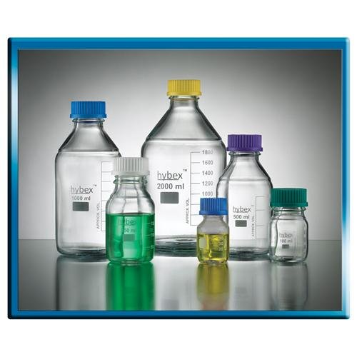 Benchmark Scientific Hybex B3000-250 Borosilicate Glass Graduated Media Storage Bottle with Polypropylene Blue Cap, 250ml Capacity (Pack of 10)