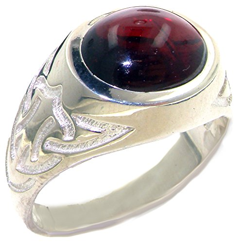 Solid 925 Sterling Silver Real Genuine Garnet Mens Signet Anniversary Ring - Size 8 - Size 8