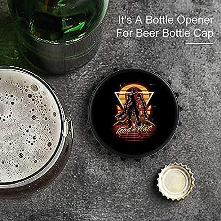 Abrebotellas de silueta retro de God of War, etiqueta engomada del refrigerador con imán trasero, forma creativa de tapa de botella, fácil de abrir el esfuerzo de botella.