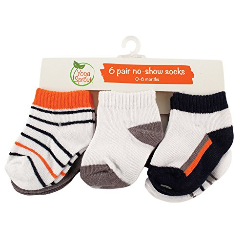 Yoga Sprout Baby 6-Pack No Show Socks, Navy/Orange, 6-12 Months