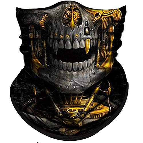 Obacle Skull Face Mask Half Sun Dust Wind Protection, 3D Tube Mask Seamless Durable Face Mask Bandana Skeleton Face Mask Motorcycle Bike Riding Fishing Hunting Cycling Festival, Many Patterns