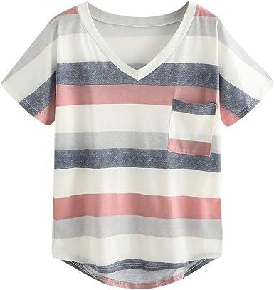 YEBIRAL Camiseta de Rayas Casual de Mujer, Camisa de Verano ...
