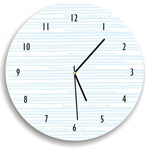 Kid'O Design Studio Hand drawn line Pattern Wall clock Decorative Kids room clock ,Battery Operated Wall Clocks, White and Light Blue 10.62 inches - Kid Drawn Charts
