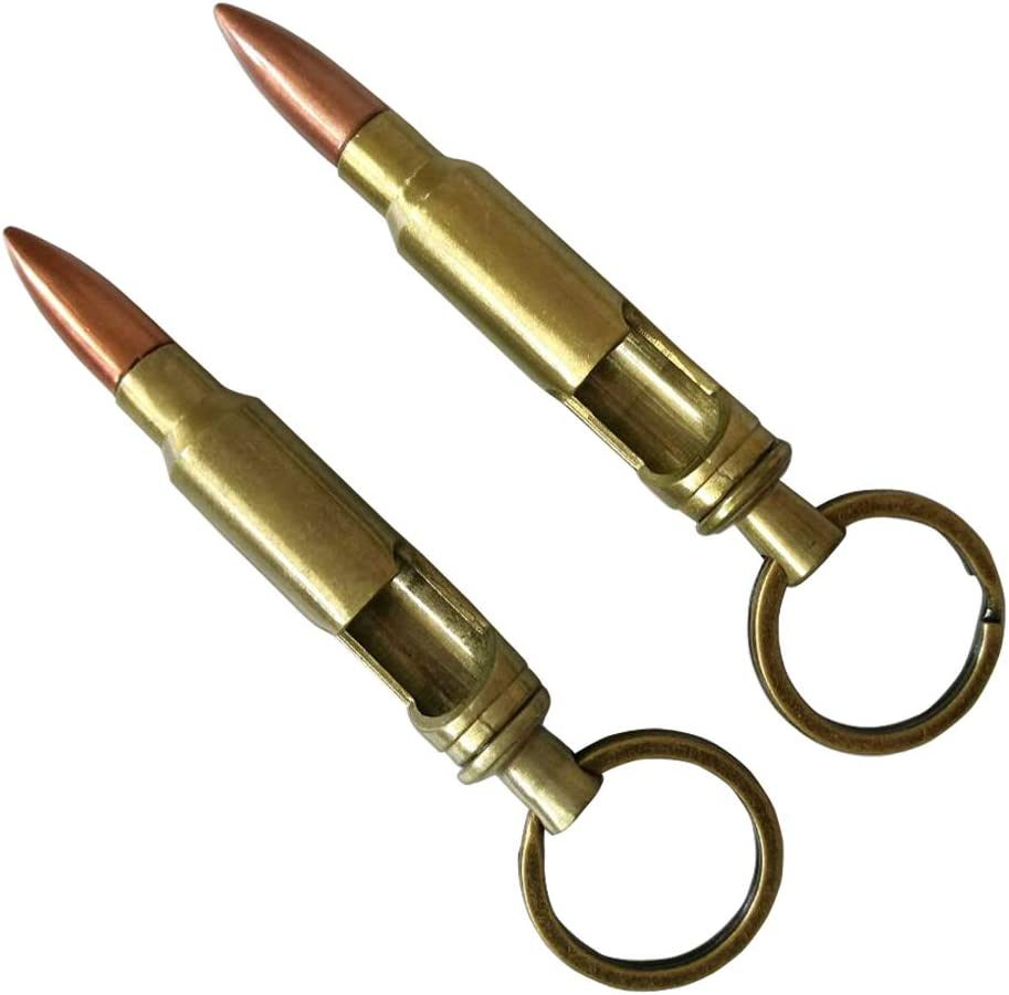 L & H household Bullet Bottle Opener w/Keyring Gift for Birthday Father's Day Anniversary Party Christmas (2, Bronze)