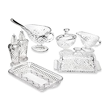 Dublin 8 Piece Sparkling Lead Crystal Hostess Set in Intricate Cut Starburst Pattern (Imported)