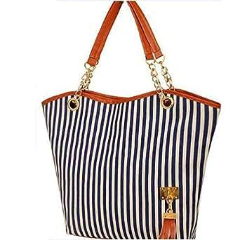 Fashion Canvas Tassel Chain Shoulder Bag Striped Hand Bag Women's HandBag