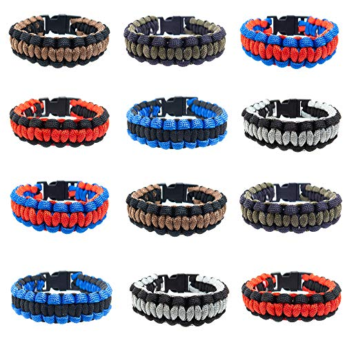 - FROG SAC 12 PCS Two-Tone Thin Braid Paracord Bracelets Set for Men w/ 8.5