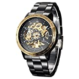 Best Golden Watches - GuTe Fashion Steampunk Black Steel Golden Bezel Automatic Review