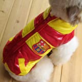 RED & YELLOW Colored Dog Jacket Polyester Cotton Royal Soccer Seal Patch-Size 3