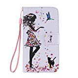 SZYT Phone Case for Samsung Galaxy S5, 5 inch, PU Leather Flip Cover with Handle, Floral Skirt Girl Black Cat