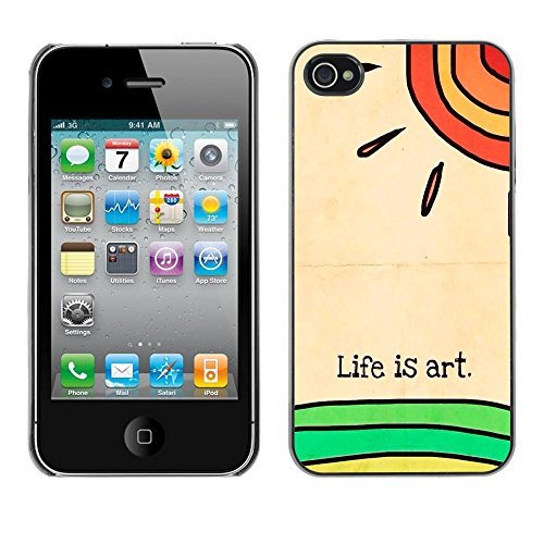 ( Art Life Sun Kids Drawing Meaning ) APPLE iPhone 4 / 4S Hard Printing Protective Cover Protector Sleeve Shell Case Cover