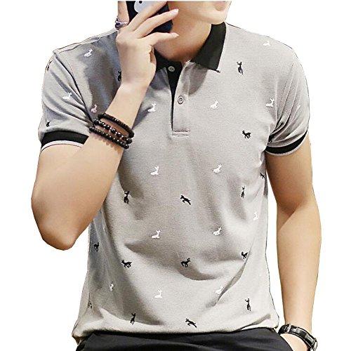 FEVON ポロシャツ メンズ 半袖 夏 ゴルフ おしゃれ 鹿のプリント カジュアル トップス Tシャツ poloシャツ シャツ カッコイイ ファッション 襟付き 大きいサイズ 全4色