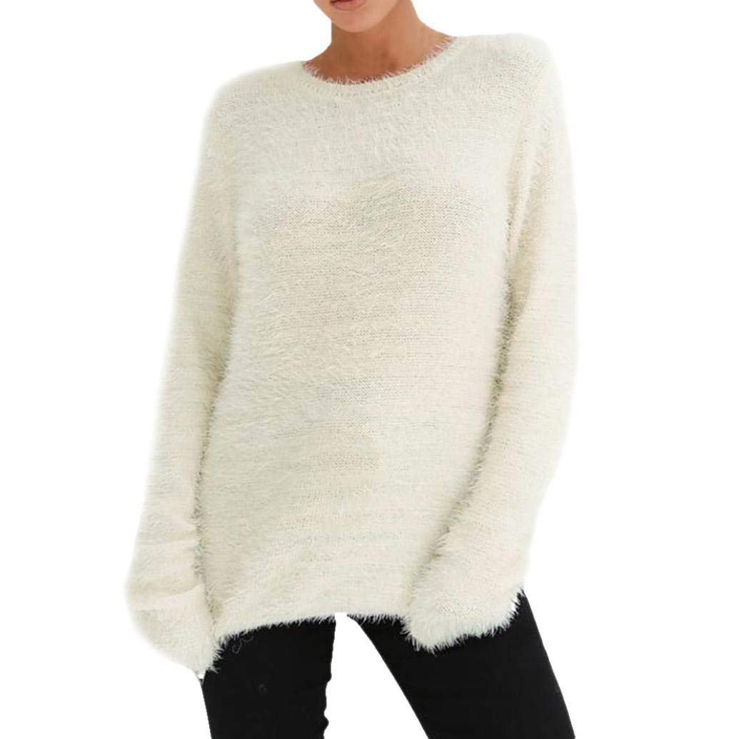 WOCACHI Womens Plush Solid Sweater Long Sleeve Solid Blouse Winter Keep Warm Top WOCACHI-180813