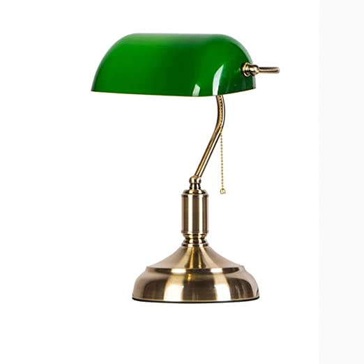 DGF Lámparas de mesa de vidrio verde esmeralda estilo Banco ...
