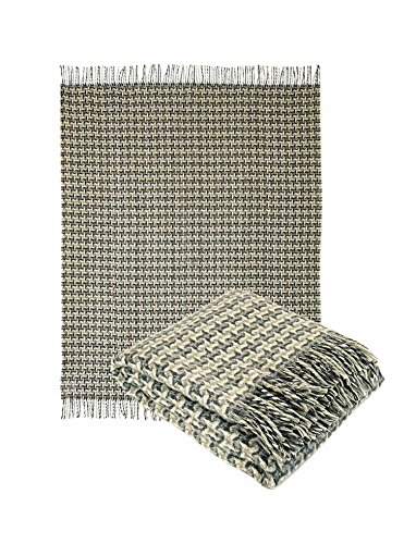 Throw Wool Blend Blanket (Pure Wool Throw Blanket with fringe 55x79 (Twin) in hounds tooth design, Medium Weight, By Yaroslav Mill (Grey))