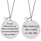 Bassion 2 Pcs Stainless Steel Inspirational Necklace Jewelry Lettering Pendant Necklace Gift for Women Girls - You Are Braver Stronger Smarter Than You Think