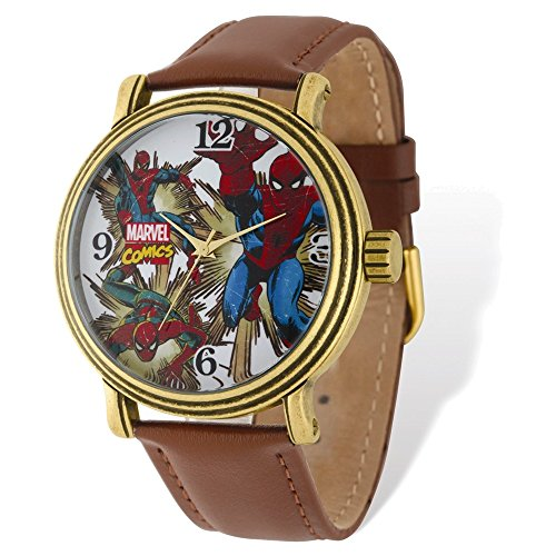 Marvel+Watches Products : Marvel Adult Size Spiderman Gold-tone Brown Leather Band Watch