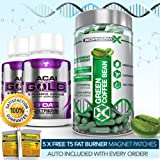 GREEN COFFEE BEAN EXTRACT + 2 ACAI GOLD- STRONGEST SLIMMING / DIET + DETOX PILLS