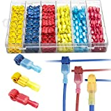 Amlits 360 PCS T-Tap Wire Connectors, Self-Stripping Quick Splice Electrical Wire Terminals, Insulated Male Quick Disconnect Spade Terminals Assortment Kit with Storage Case