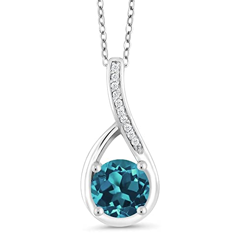 Gem Stone King London Blue Topaz and Diamond 925 Sterling Silver Infinity Pendant Necklace, 0.82 Ctw Round Cut Gemstone Birthstone