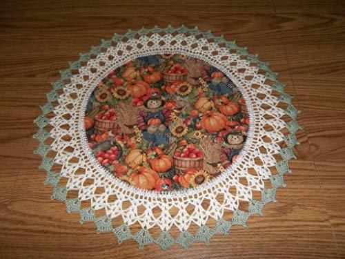 Fall Thanksgiving Doily Scarecrow Yellow Sunflowers Pumpkins Lace Table Topper Round Handmade Table Decoration Crochet 18 Inches Fall Centerpiece ()