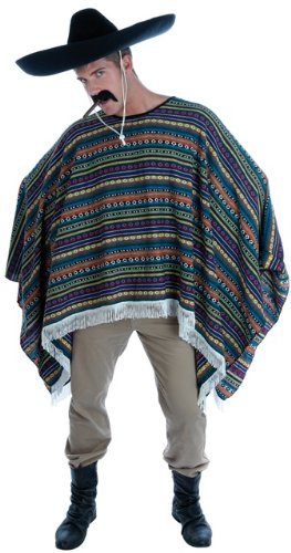 Mexican Poncho Wild West Male Fancy Dress Costume - One Size (Wild West Fancy Dress)