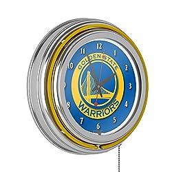 Golden State Warriors NBA Chrome Double Ring Neon Clock
