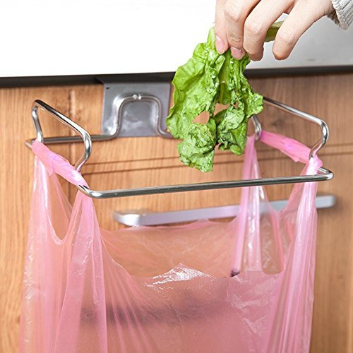 KABAKE Hanging Garbage Bags Storage Organizer Rack Stainless Steel Trash Bag Holder Towel Gloves Hanger for Kitchen Cabinet Cupboard Drawer Back Door Hook Hangers (Kitchen Towel Bag Holder)