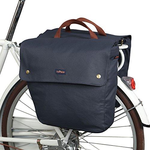 TOURBON Waterproof Canvas Bike Pannier Bag Folding Bicycle Rear Seat Trunk Bag (Roll-up, Double) ()