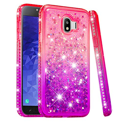 Price comparison product image Galaxy J4 2018 Case,  Futanwei [Gradient Colorful+Quicksand+Diamond Bumper] Soft TPU Case Girls Glitter Crystal Design Sparkle Bling Luxury Full Protection Cover for Samsung Galaxy J4 2018 PinkPurple