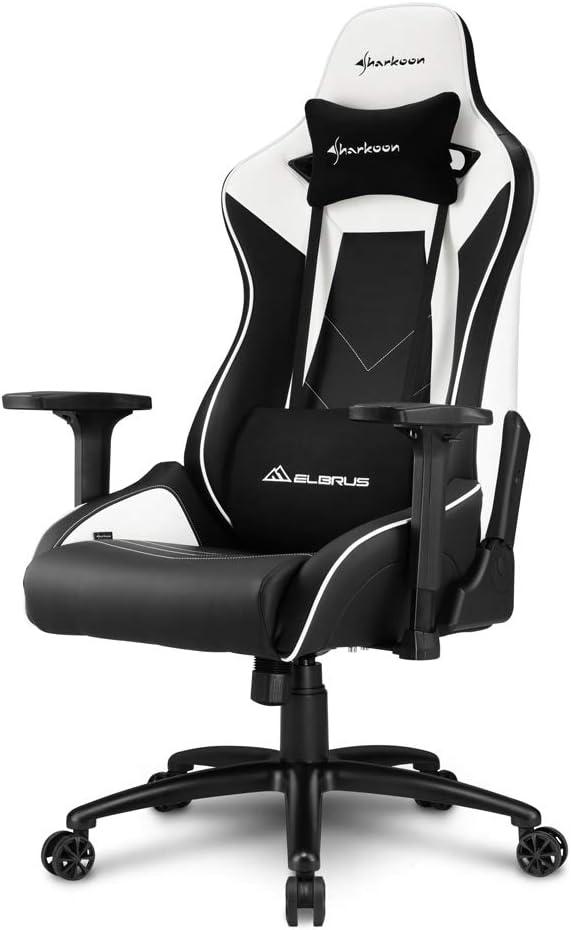 Sharkoon Elbrus 3 colore nero//bianco similpelle premium sedia gaming
