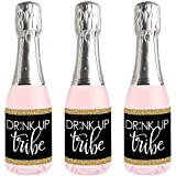 Bride Tribe - Mini Wine and Champagne Bottle Label Stickers - Bridal Shower or Bachelorette Party Favor Gift for Women and Men - Set of 16