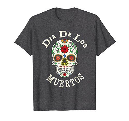 Mens Sugar Skull T-Shirt Day of the Dead Dia de los Muertos 2XL Dark Heather -