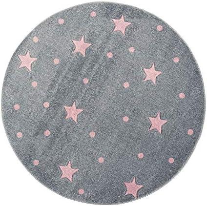 Livone Tapis pour Chambre denfant Motif /étoiles /à Pois Argent/é//Gris Rose 100x 150 cm argent/é