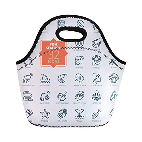 Semtomn Lunch Bags Sea Food Fish and Seafood Outline Collection for Oyster Neoprene Lunch Bag Lunchbox Tote Bag Portable Picnic Bag Cooler Bag