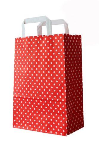 25 Stück farbige Papiertragetaschen Papiertaschen rot-weiß gepunktet 18 + 8 x 22 cm