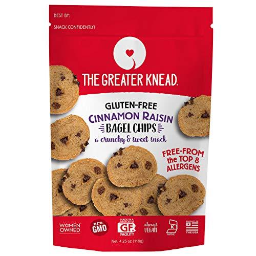 Greater Knead Gluten Free Bagel Chips - Cinnamon Raisin, Vegan, non-GMO, Free of Wheat, Nuts, Soy, Peanuts, Tree Nuts (1 - Foods Gluten Frozen Free