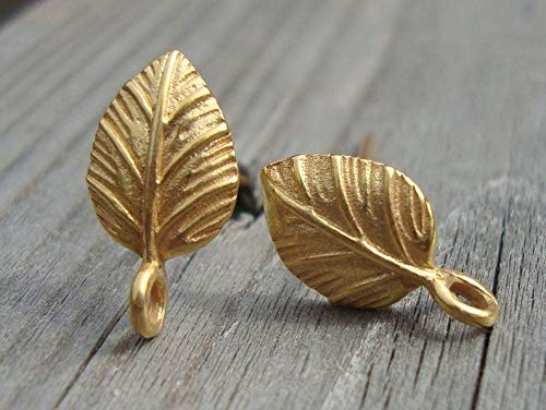 2 pcs, Gold Vermeil Leaf Ear Post with Connector Ring, Ear Back Included, - Post Vermeil