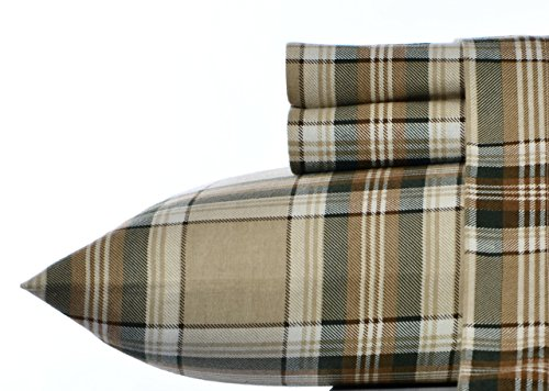 Eddie Bauer Flannel Sheet Set, Queen, Edgewood Plaid