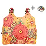 Anuschka Anna Hobo Handbag Hand Painted Design on Real Leather Purse with Purse Holder, Med U-top Summer Bloom