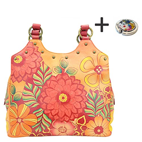 Anuschka Anna Hobo Handbag Hand Painted Design on Real Leather Purse with Purse Holder, Med U-top Summer Bloom by ANUSCHKA