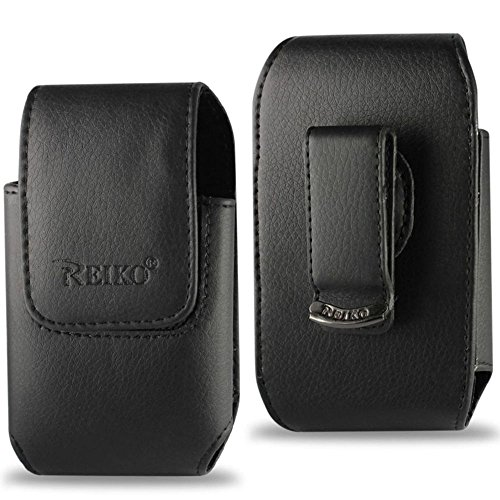 Reiko Wireless Vertical Pouch HTC Hd2 T8585 Plus Black Cell Phone with Cover - Colored